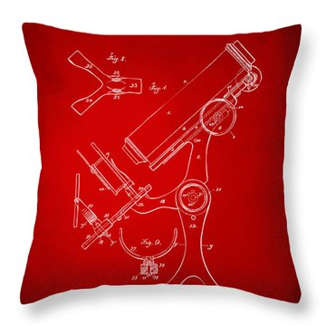 1886 Microscope Patent Artwork - Red Throw Pillow by Nikki Marie Smith