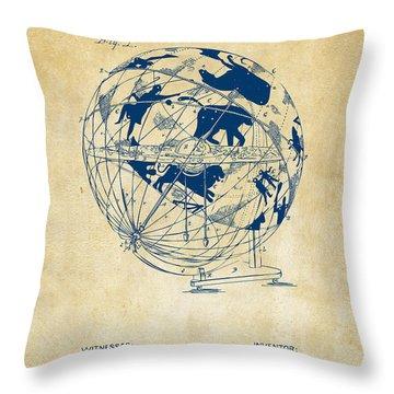 1886 Terrestro Sidereal Globe Patent Artwork - Vintage Throw Pillow