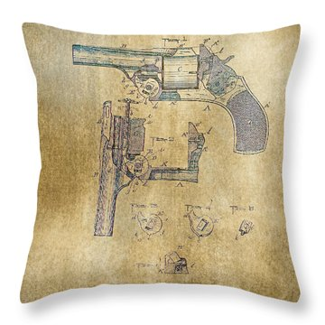 1887 Revolver Throw Pillow by Steven Parker