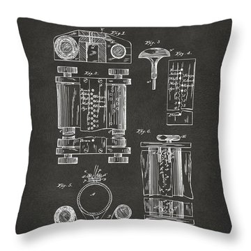 1889 First Computer Patent Gray Throw Pillow by Nikki Marie Smith