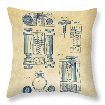 1889 First Computer Patent Vintage Throw Pillow