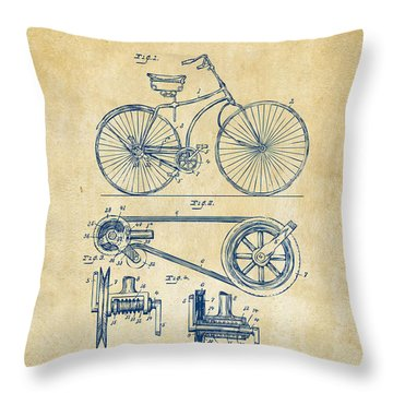 1890 Bicycle Patent Artwork - Vintage Throw Pillow