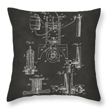 Throw Pillow featuring the digital art 1890 Bottling Machine Patent Artwork Gray by Nikki Marie Smith