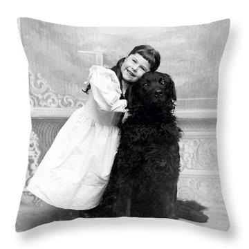 1890 Happy Girl And Her Retriever  Throw Pillow