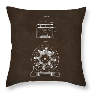 Throw Pillow featuring the drawing 1890 Tesla Motor Patent Espresso by Nikki Marie Smith