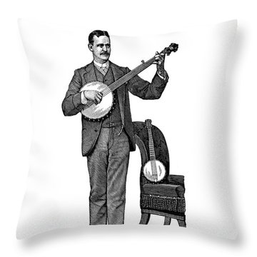 1890s Man Standing Playing Five String Throw Pillow