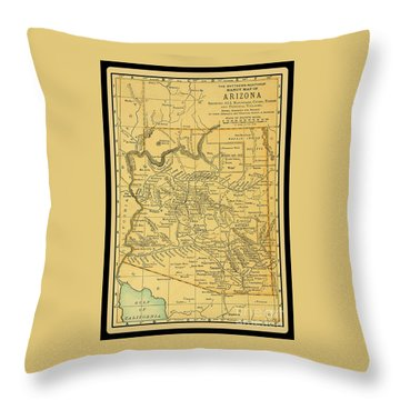 1891 Arizona Map Throw Pillow