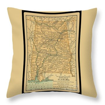 1891 Map Of Alabama Throw Pillow