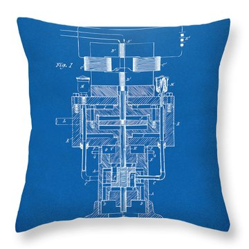 Throw Pillow featuring the drawing 1894 Tesla Electric Generator Patent Blueprint by Nikki Marie Smith