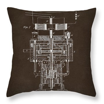 Throw Pillow featuring the drawing 1894 Tesla Electric Generator Patent Espresso by Nikki Marie Smith