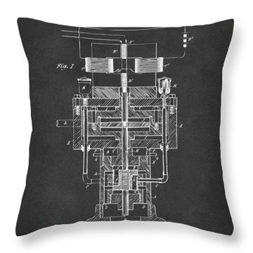Throw Pillow featuring the drawing 1894 Tesla Electric Generator Patent Gray by Nikki Marie Smith