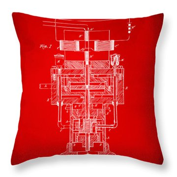 Throw Pillow featuring the drawing 1894 Tesla Electric Generator Patent Red by Nikki Marie Smith