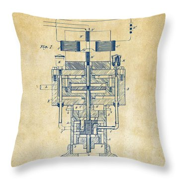 Throw Pillow featuring the drawing 1894 Tesla Electric Generator Patent Vintage by Nikki Marie Smith