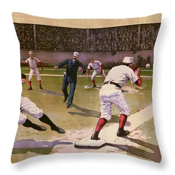 1898 Baseball -  American Pastime  Throw Pillow by Daniel Hagerman