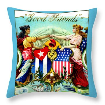 1898 Good Friends Cuban Cigars Throw Pillow