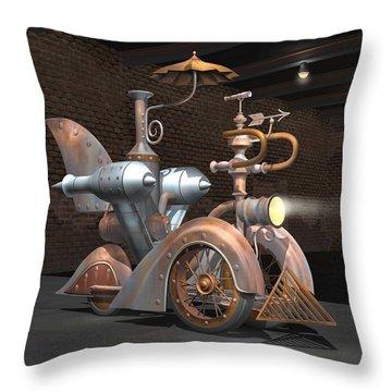1898 Steam Scooter Throw Pillow