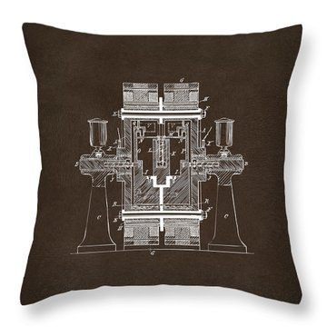 Throw Pillow featuring the drawing 1898 Tesla Electric Circuit Patent Artwork Espresso by Nikki Marie Smith