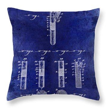 1899 Billiard Cue Tip Fastener Blue Throw Pillow