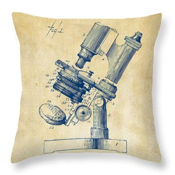 1899 Microscope Patent Vintage Throw Pillow
