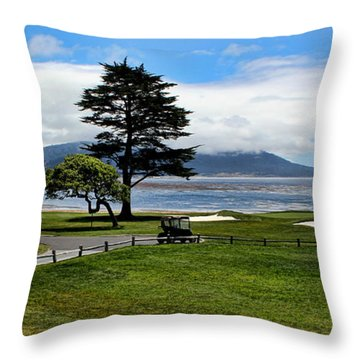 18th At Pebble Beach Panorama Throw Pillow by Judy Vincent