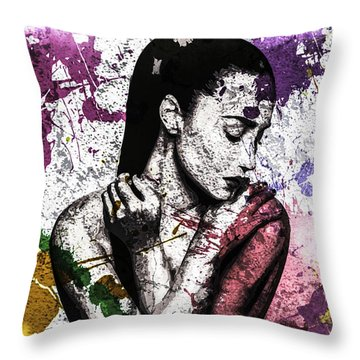 Demi Lovato Throw Pillow by Svelby Art