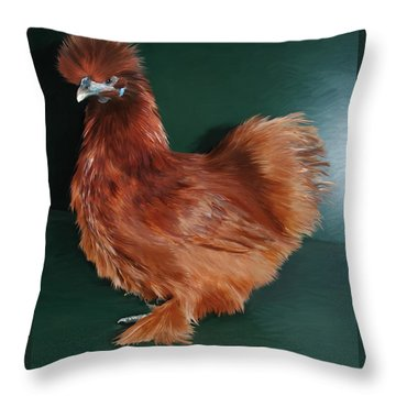 19. Red Silkie Hen Throw Pillow