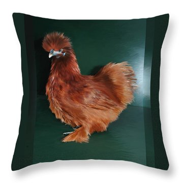 19. Red Silkie Hen Throw Pillow