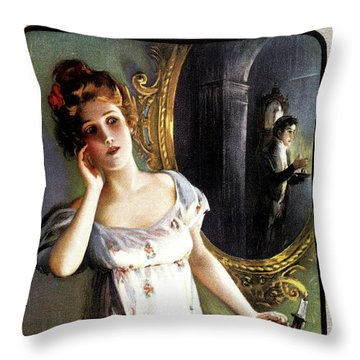 1900s 1904 Woman With Candle Sees Man Throw Pillow