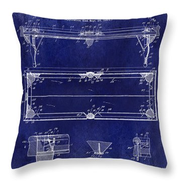 1902 Billiard Table Patent Drawing Blue Throw Pillow