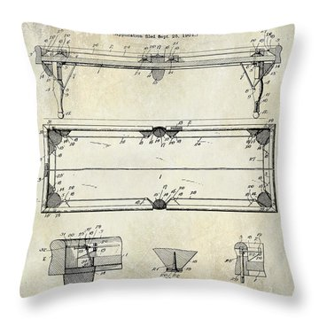 1902 Billiard Table Patent Drawing Throw Pillow