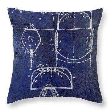 1902 Football Helmet Patent Drawing Blue Throw Pillow