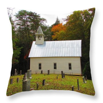Cade's Cove 1902 Methodist Church Throw Pillow