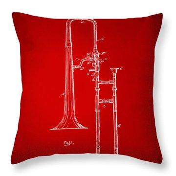 1902 Slide Trombone Patent Artwork Red Throw Pillow