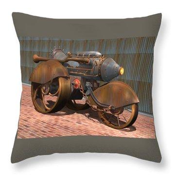 1902 Steam Trike Throw Pillow