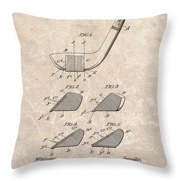 1903 Golf Club Patent Throw Pillow