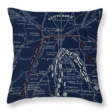 1904 Gettysburg Blueprint Throw Pillow