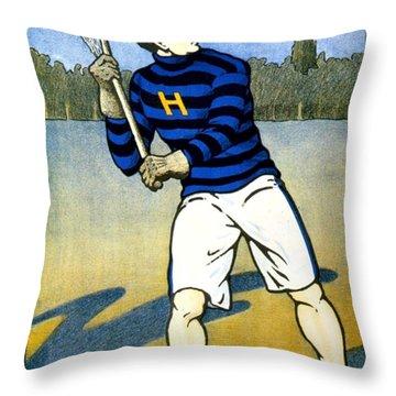 1905 - Johns Hopkins University Lacrosse Poster - Color Throw Pillow