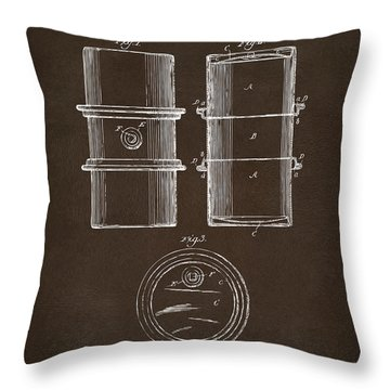 Throw Pillow featuring the drawing 1905 Oil Drum Patent Artwork Espresso by Nikki Marie Smith