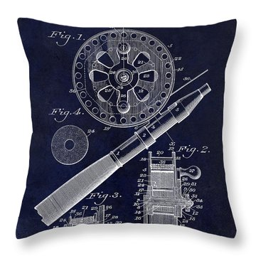1906 Fishing Reel Patent Drawing Blue Throw Pillow