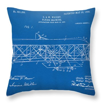 Throw Pillow featuring the digital art 1906 Wright Brothers Flying Machine Patent Blueprint by Nikki Marie Smith