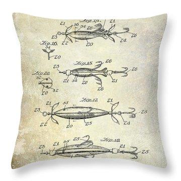 1907 Fishing Lure Patent Throw Pillow