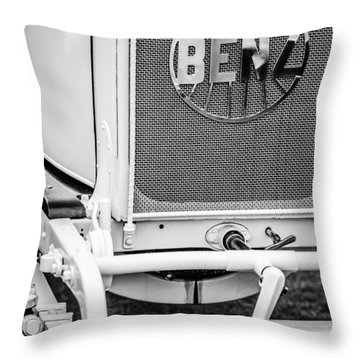 1908 Benz Prince Heinrich Two Seat Race Car Grille Emblem -1696bw Throw Pillow by Jill Reger