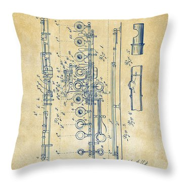Throw Pillow featuring the digital art 1908 Flute Patent - Vintage by Nikki Marie Smith
