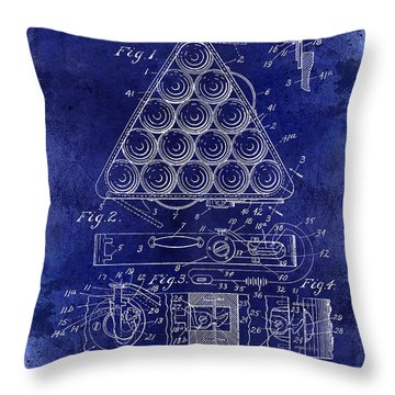 1910 Billiard Triangle Patent Drawing Blue Throw Pillow