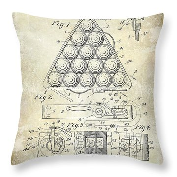 1910 Billiard Triangle Patent Drawing Throw Pillow