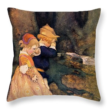 1910s Illustration Hansel And Gretel Throw Pillow