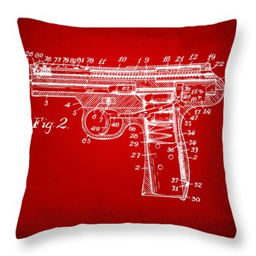 1911 Automatic Firearm Patent Minimal - Red Throw Pillow