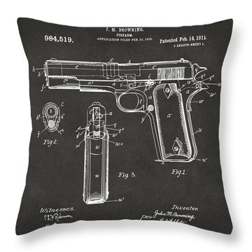 1911 Browning Firearm Patent Artwork - Gray Throw Pillow by Nikki Marie Smith