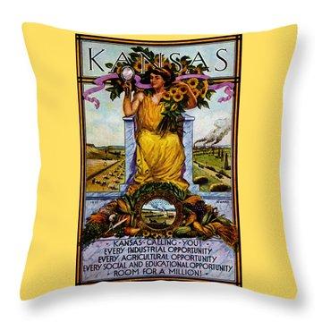 1911 Kansas Poster Throw Pillow