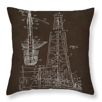 Throw Pillow featuring the drawing 1911 Oil Drilling Rig Patent Artwork - Espresso by Nikki Marie Smith